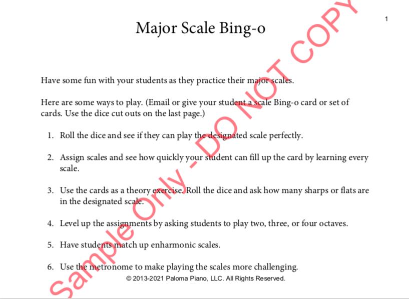 Paloma Piano - Major Scale Bingo - Page 1