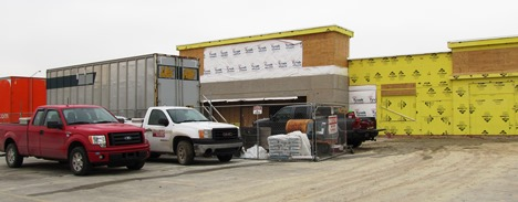 """The redevelopment of Wyandotte Plaza, including this view of the old grocery store area being transformed into a new Marshall's and PetSmart stores, is an example of the """"trickle back"""" theory of economic development in Wyandotte County, according to one developer. (Staff file photo)"""