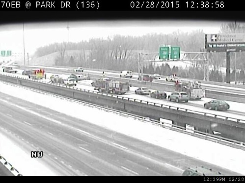 A multi-vehicle accident has been reported on I-70 westbound near I-635, according to KC Scout, which reported it around 12:35 p.m. (KC Scout photo)