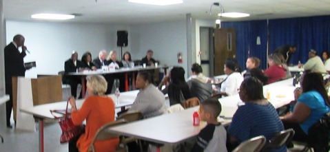 About 50 people attended a community meeting on foster care today at the Greater Pentecostal Temple in Kansas City, Kan. (Staff photo)