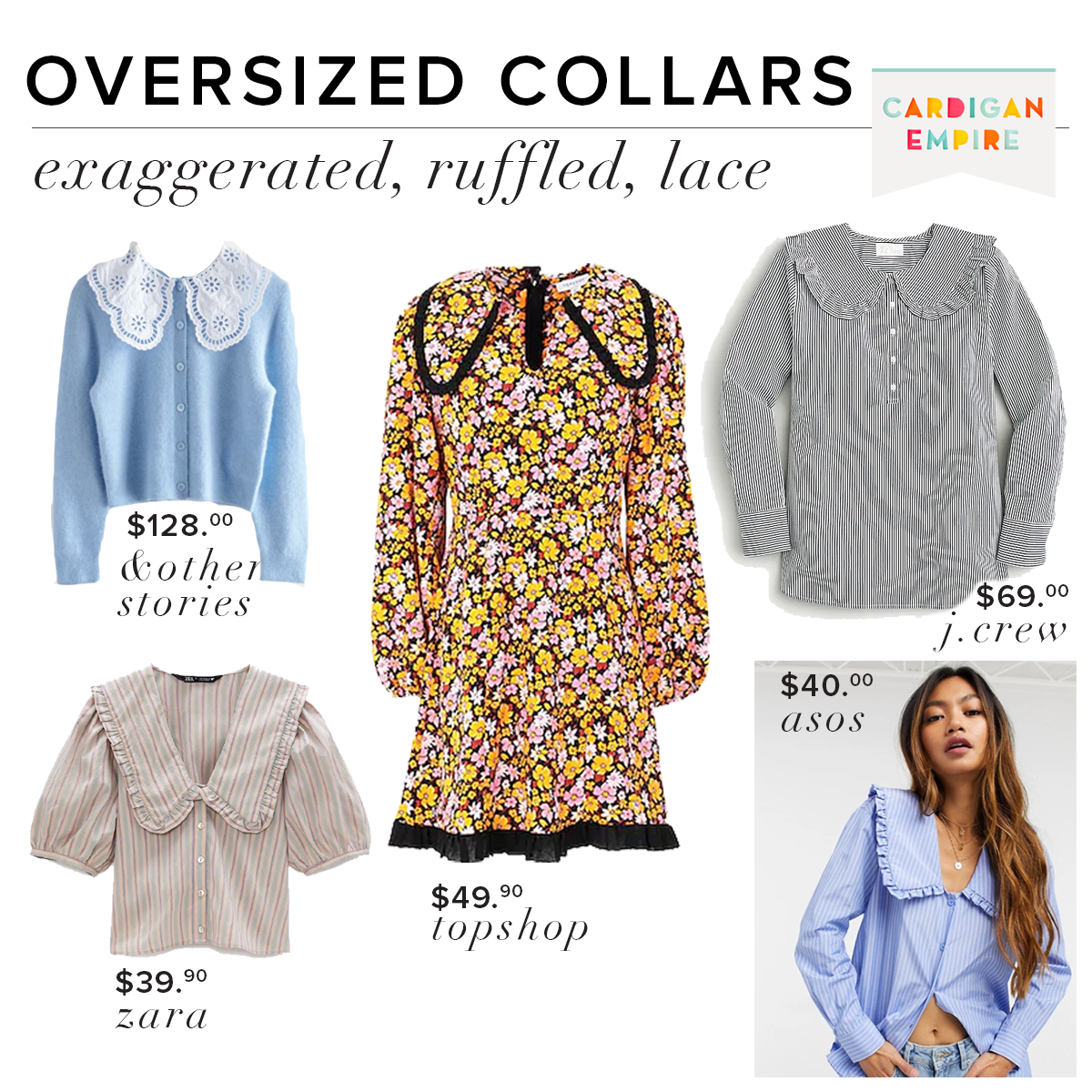Spring 2021 Trend Oversized Collars: Exaggerated, Ruffled, Lace Collars