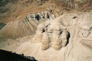 Where the Dead Sea Scrolls were found, near athe northern end of the Dead Sea.