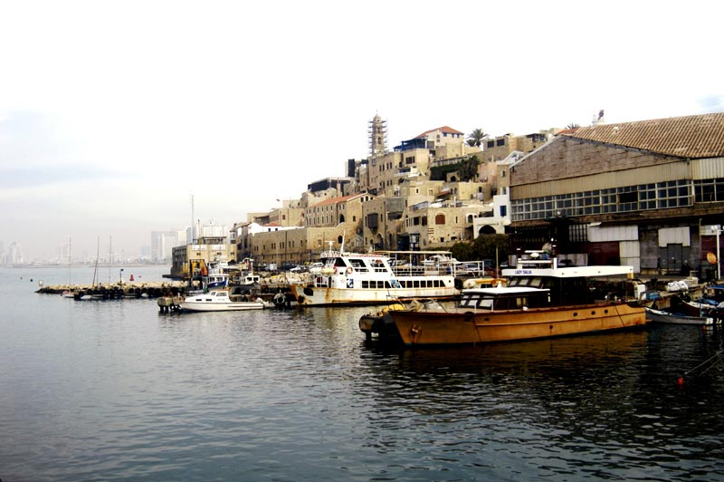 Jaffa Port in Israel, Jerusalem in the background