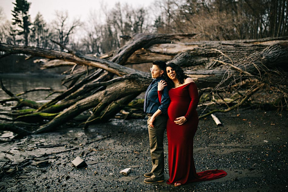 couple outside with dead tree