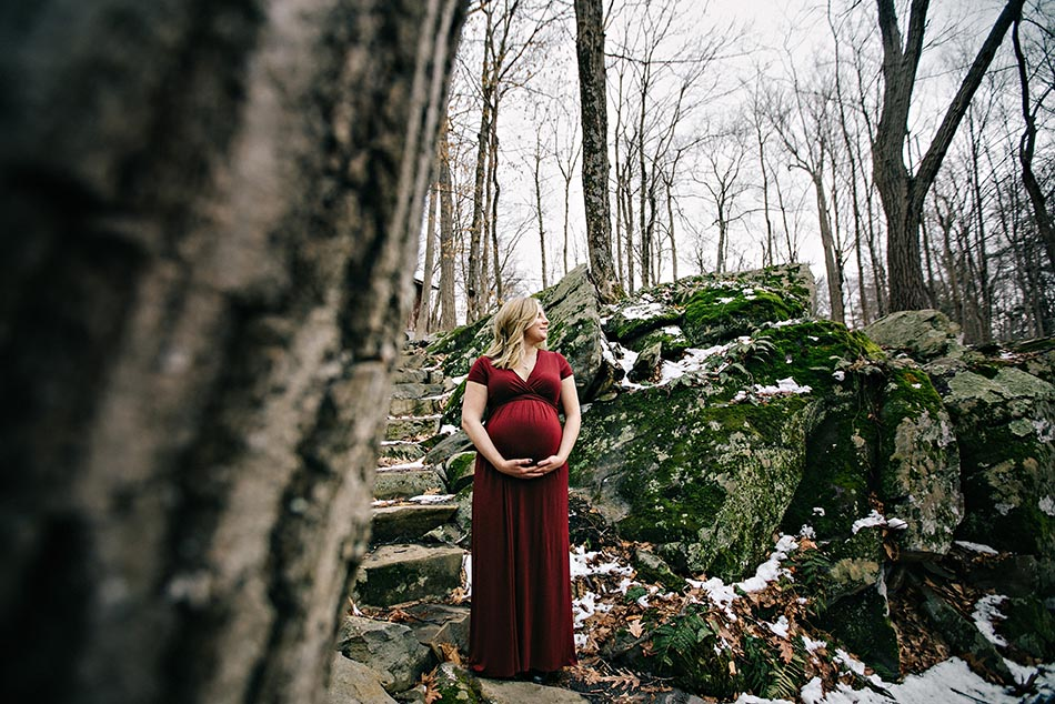 pregnant woman in woods