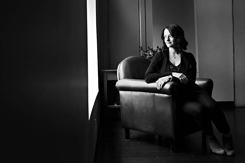 woman on armchair