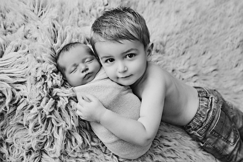 bw newborn with boy