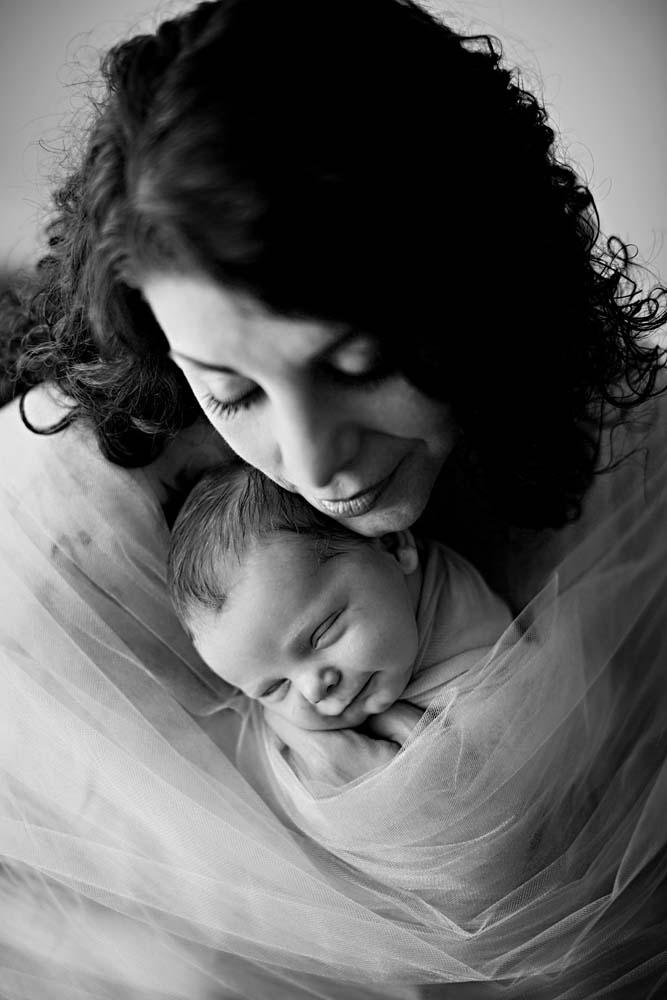 bw newborn with mom