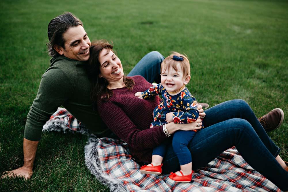 family on blanket