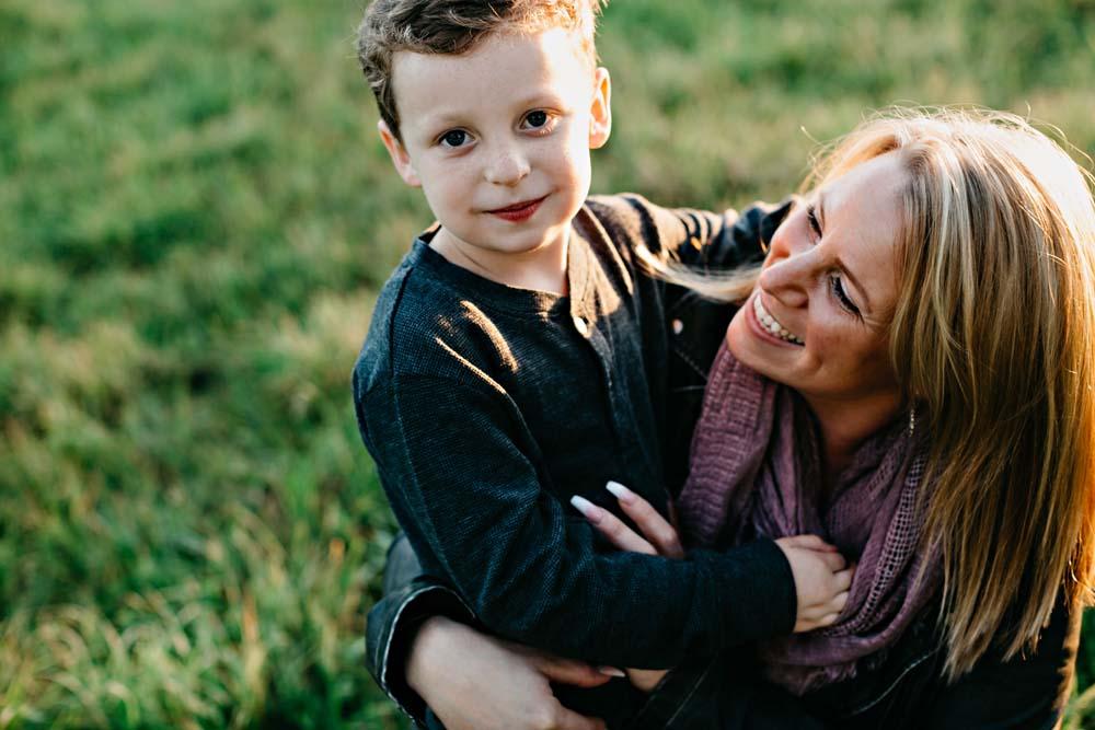 boy and mom
