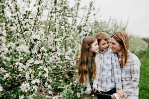 family and flowers