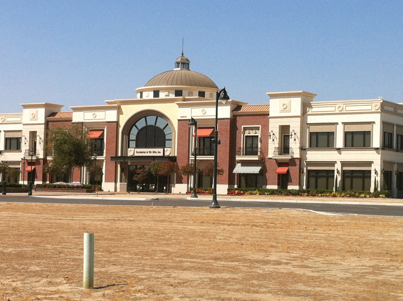office building with architectural trim