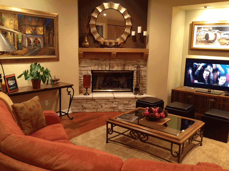 Family Room Wall Color Compliments Stone Fireplace