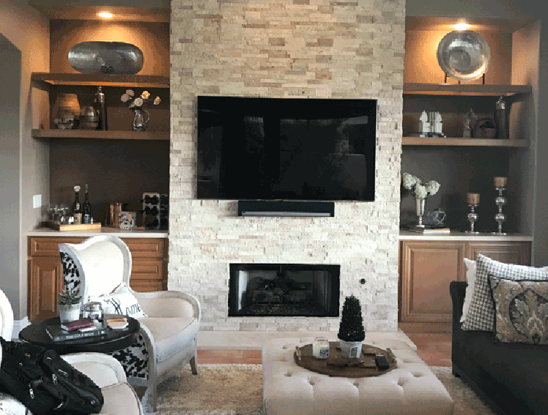 Wall Color Drawn From Fireplace Stone