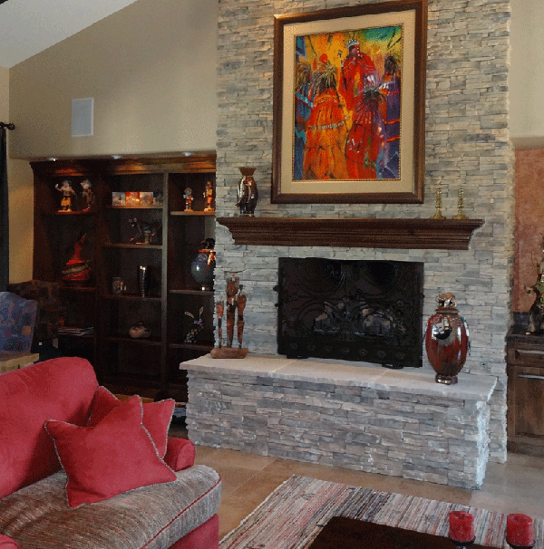 Wall Colors From Stacked Stone Fireplace
