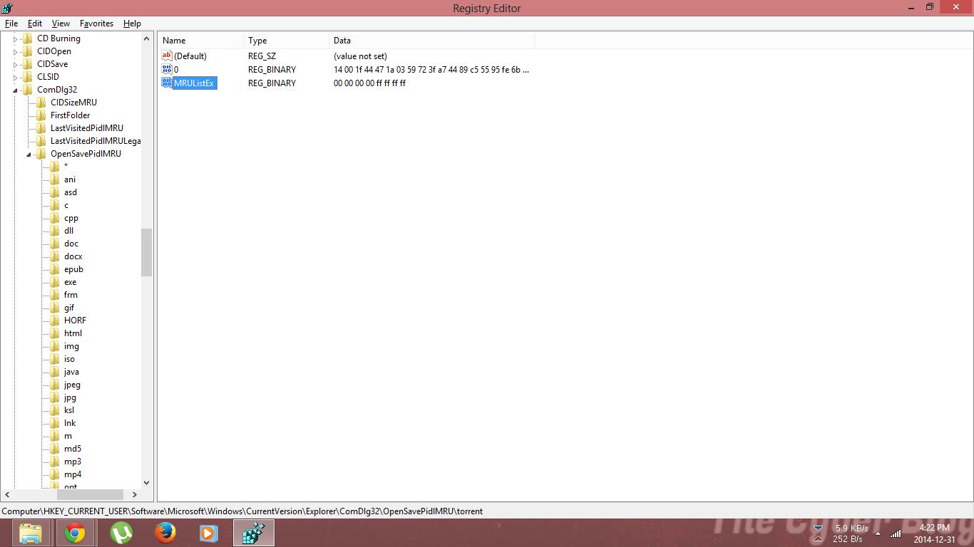 Windows Registry for OpenSave