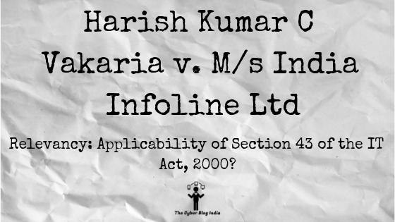 Harish Kumar C Vakaria v. M/s India Infoline Ltd