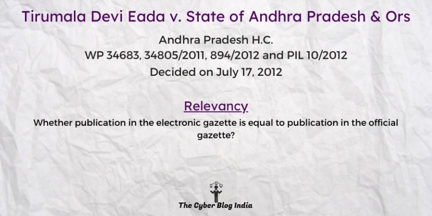 Tirumala Devi Eada v. State of Andhra Pradesh & Ors