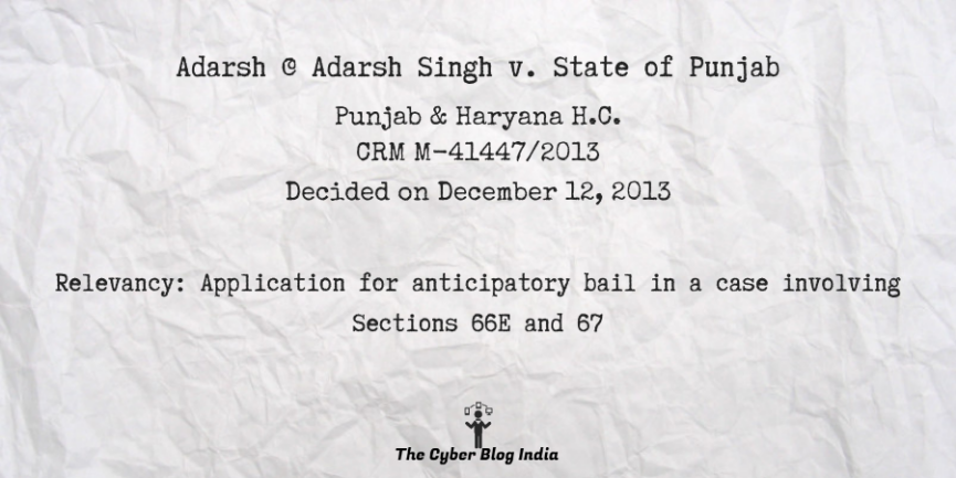Adarsh @ Adarsh Singh v. State of Punjab