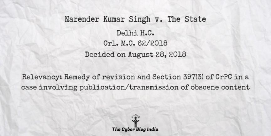 Narender Kumar Singh v. The State