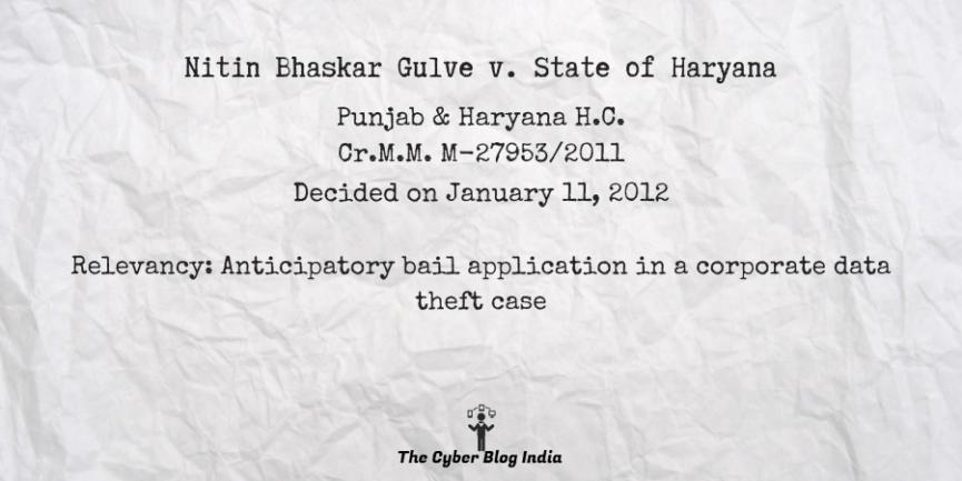 Nitin Bhaskar Gulve v. State of Haryana