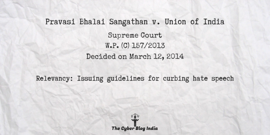 Pravasi Bhalai Sangathan v. Union of India