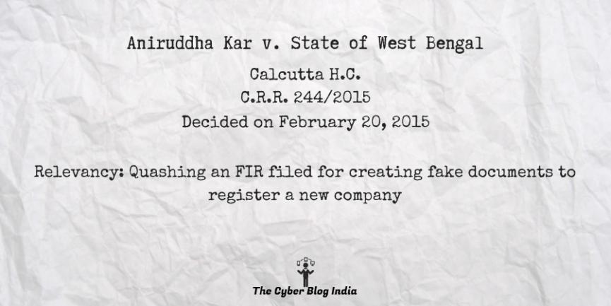 Aniruddha Kar v. State of West Bengal