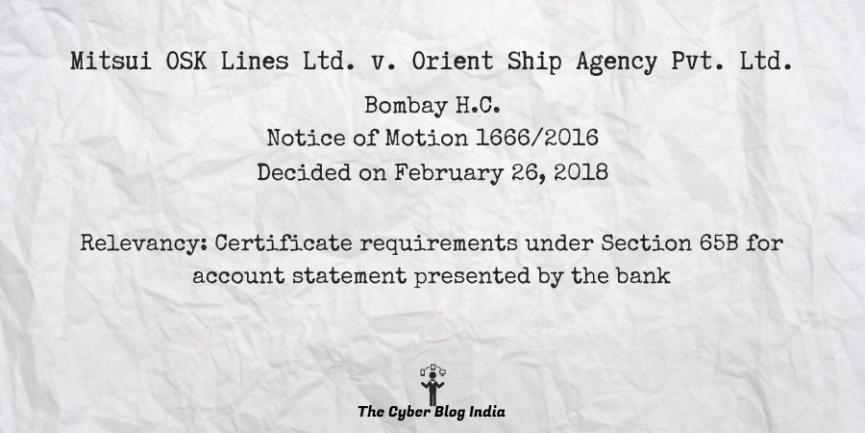 Mitsui OSK Lines Ltd. v. Orient Ship Agency Pvt. Ltd.