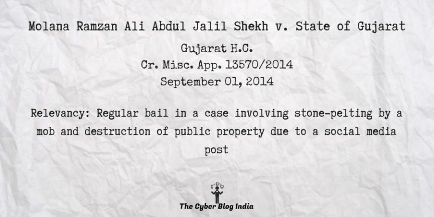 Molana Ramzan Ali Abdul Jalil Shekh v. State of Gujarat