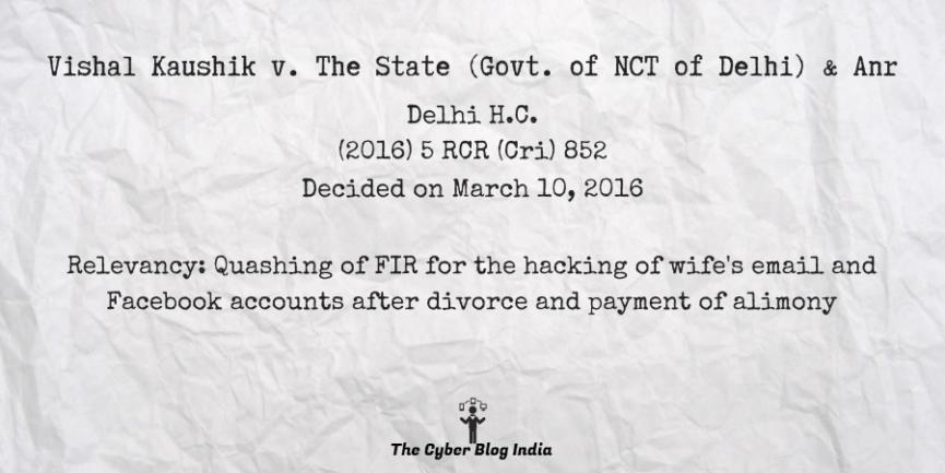 Vishal Kaushik v. The State (Govt. of NCT of Delhi) & Anr