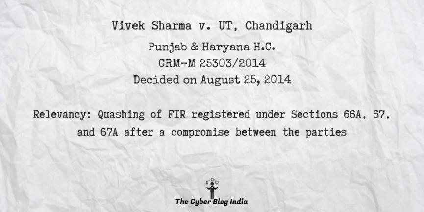 Vivek Sharma v. UT, Chandigarh
