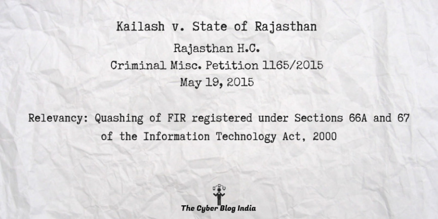 Kailash v. State of Rajasthan