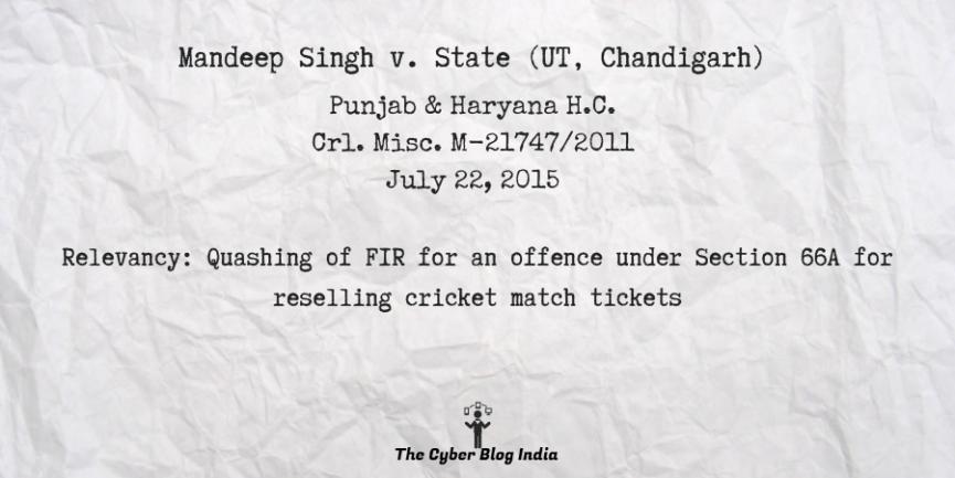 Mandeep Singh v. State (UT, Chandigarh)