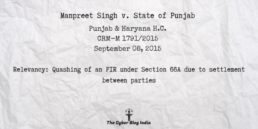 Manpreet Singh v. State of Punjab