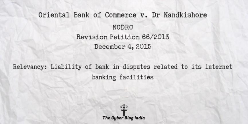 Oriental Bank of Commerce v. Dr Nandkishore