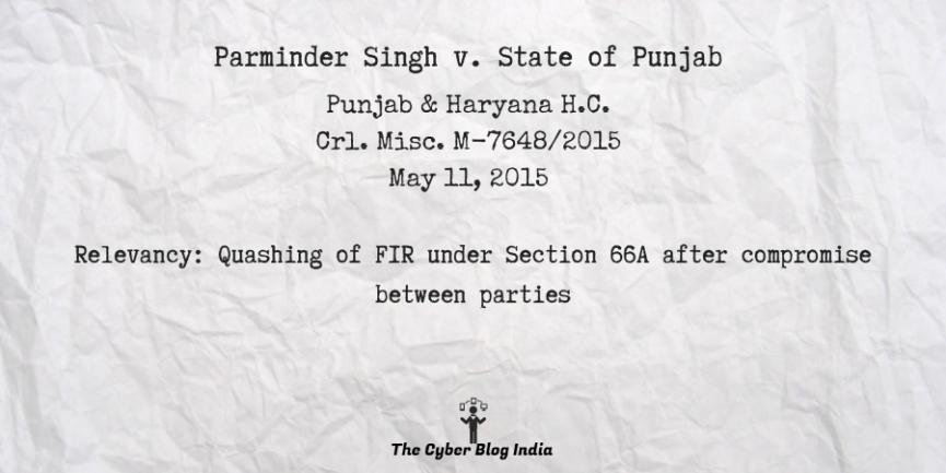 Parminder Singh v. State of Punjab