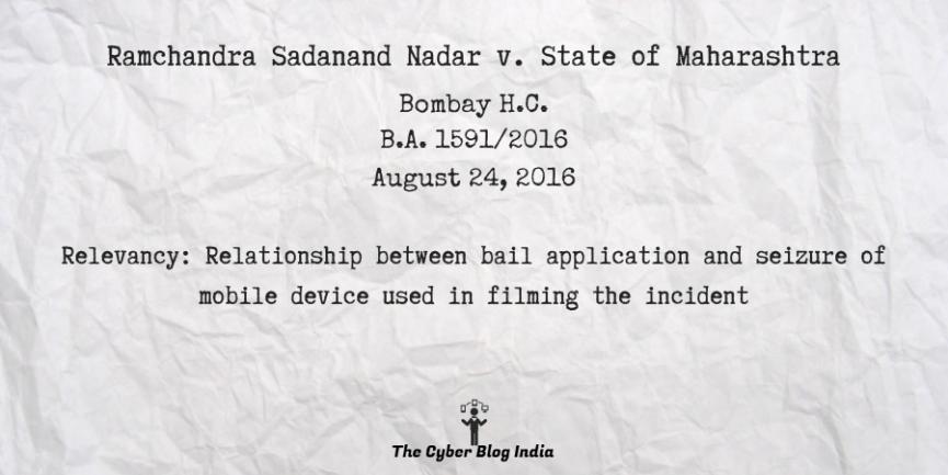 Ramchandra Sadanand Nadar v. State of Maharashtra