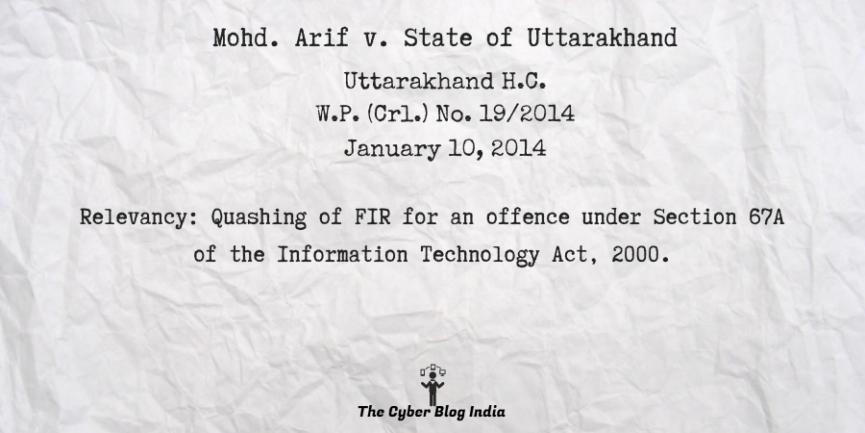 Mohd. Arif v. State of Uttarakhand