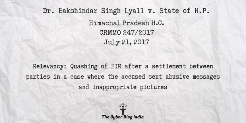 Dr. Bakshindar Singh Lyall v. State of H.P.