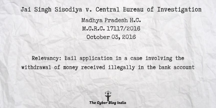 Jai Singh Sisodiya v. Central Bureau of Investigation