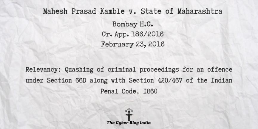 Mahesh Prasad Kamble v. State of Maharashtra