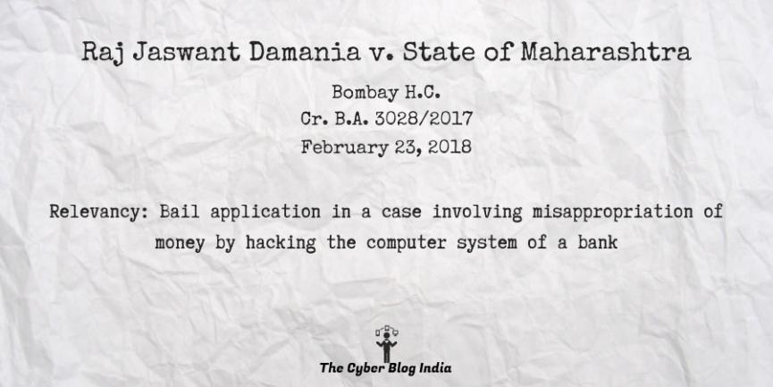 Raj Jaswant Damania v. State of Maharashtra