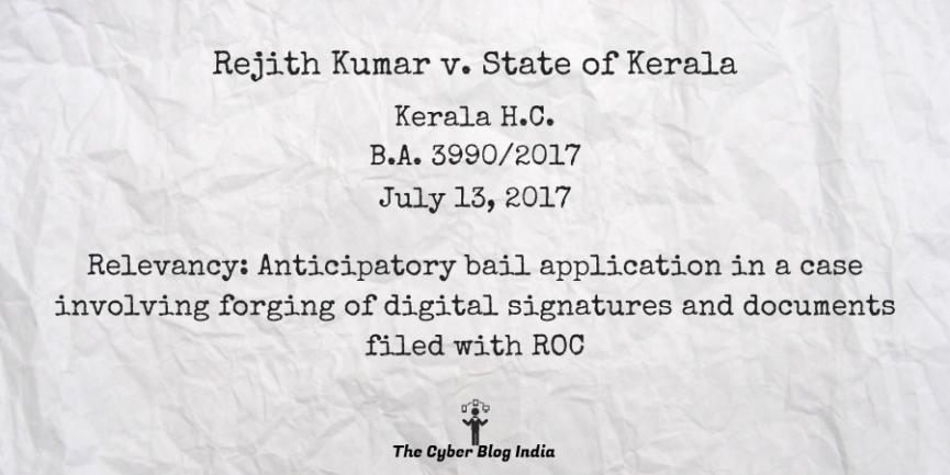 Rejith Kumar v. State of Kerala