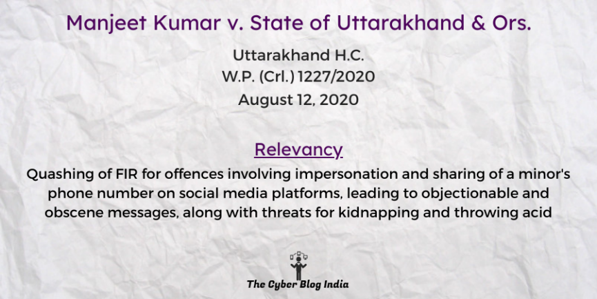 Manjeet Kumar v. State of Uttarakhand & Ors.