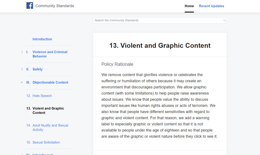 FACEBOOK'S COMMUNITY STANDARDS ON VIOLENT AND GRAPHIC CONTENT