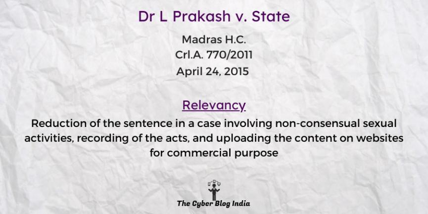 Dr L Prakash v. State