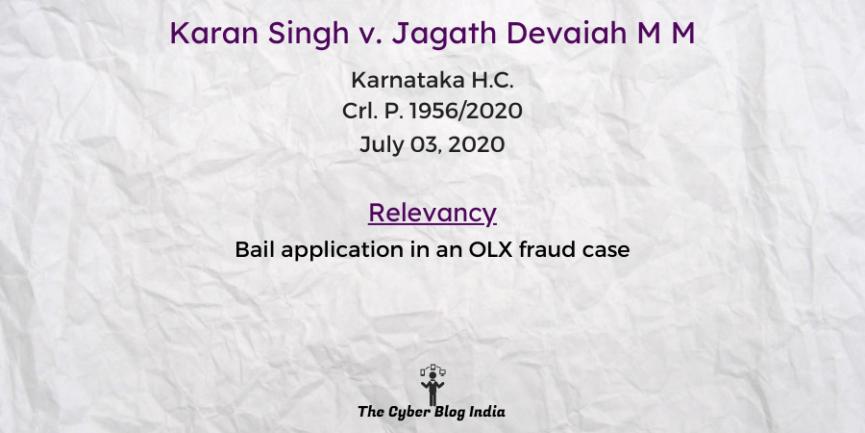 Karan Singh v. Jagath Devaiah M M