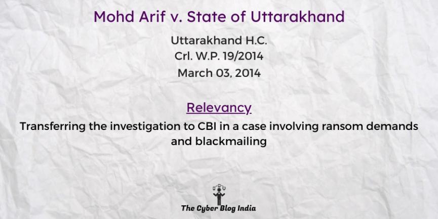 Mohd Arif v. State of Uttarakhand