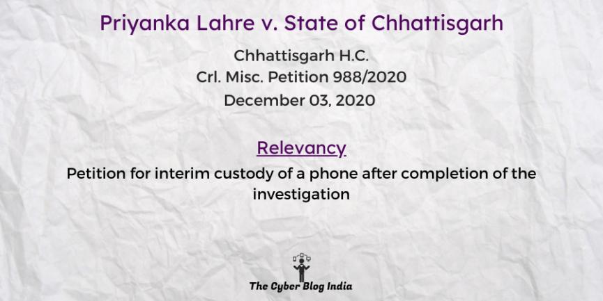 Priyanka Lahre v. State of Chhattisgarh