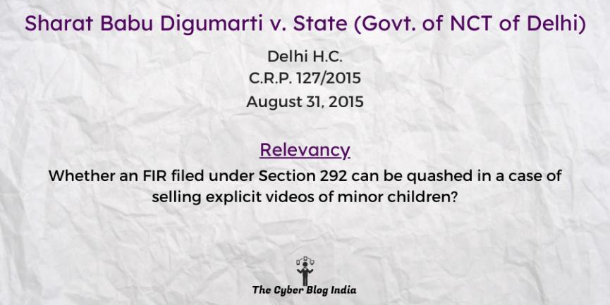Sharat Babu Digumarti v. State (Govt. of NCT of Delhi)